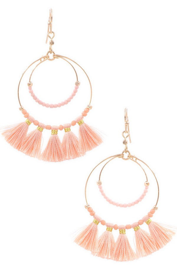 Seed Bead Tassle Hoop Drop Earrings- Peach