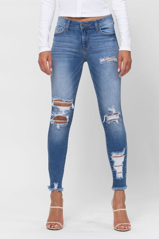 Cello Mid Rise Distress Frayed Hem Crop Skinny-MD Wash