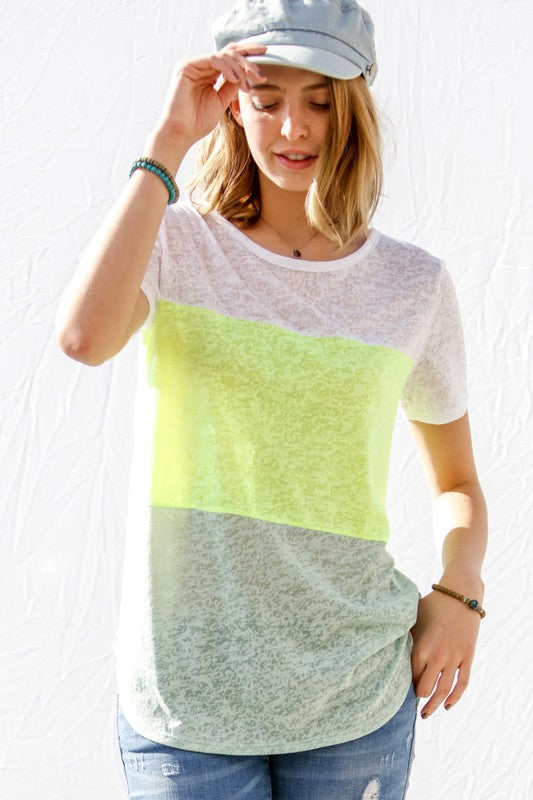Yellow Color Block Burnout Top