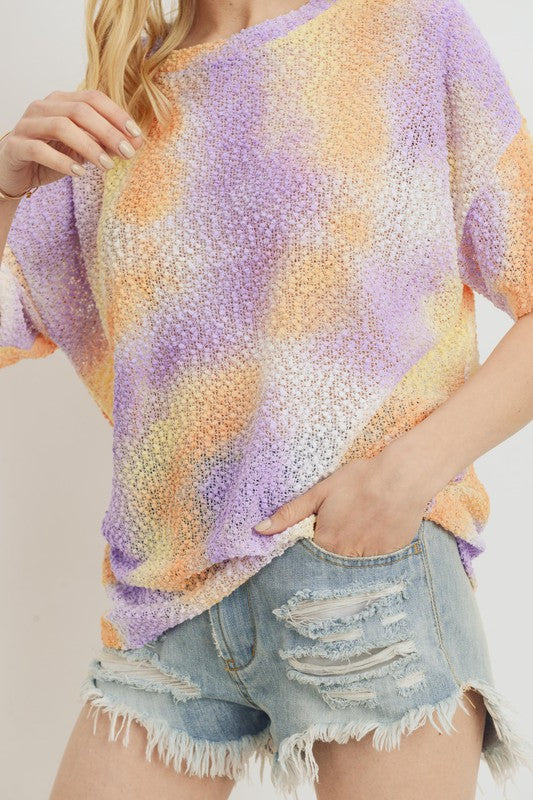 Yellow/Purple Tie Dye Popcorn Top
