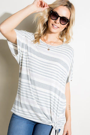 Benny- Stripe Front Tie Short Sleeve Top