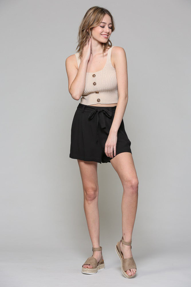 Black Shorts with Tie Belt