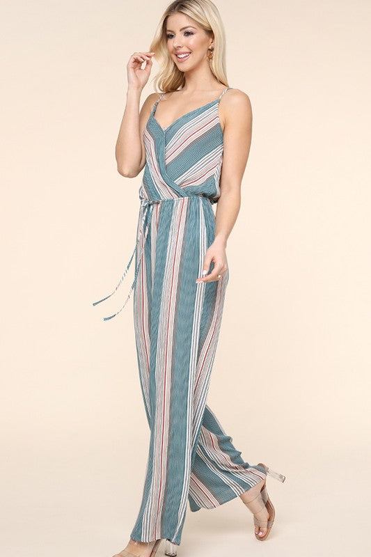 Teal Striped Jumpsuit