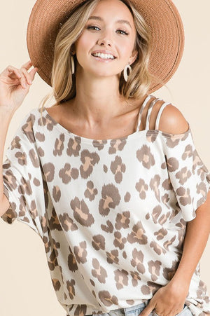 Cassey- Leopard Strapped One Shoulder