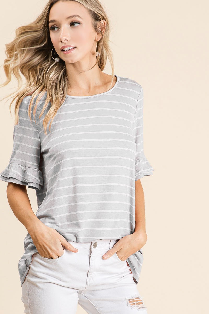 Grey/White Stripe Top