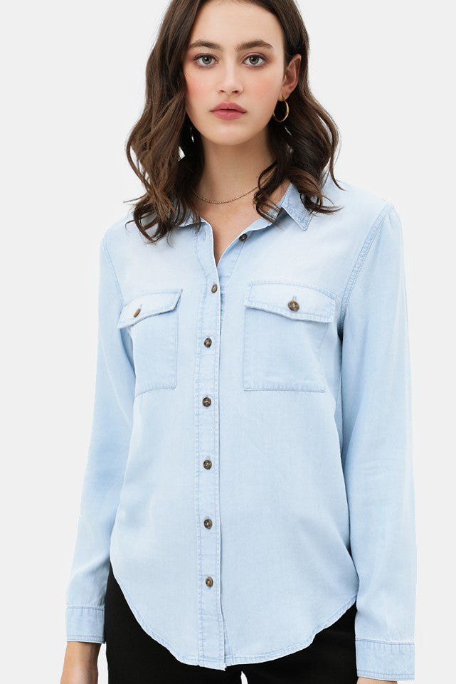 Lt Denim Button Up