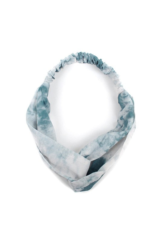 Teal Tie Dye Knotted Elastic Headband
