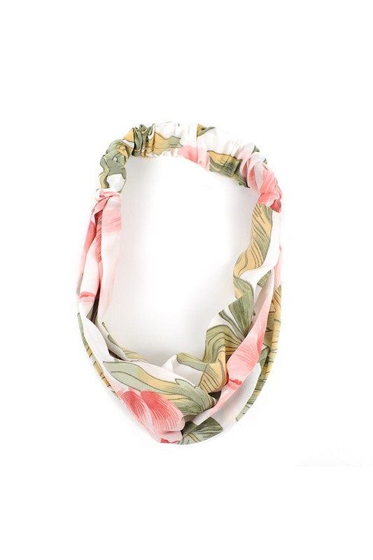 Pink + Green Floral Knotted Elastic Headband