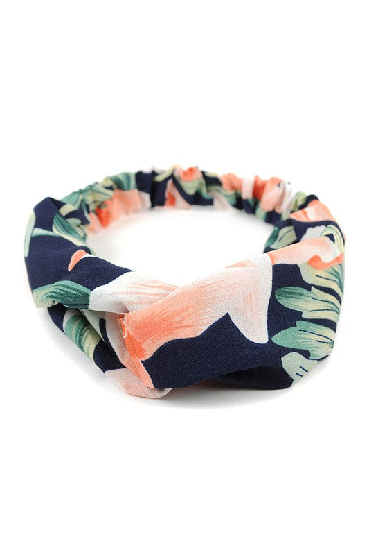 Navy + Coral Floral Knotted Elastic Headband