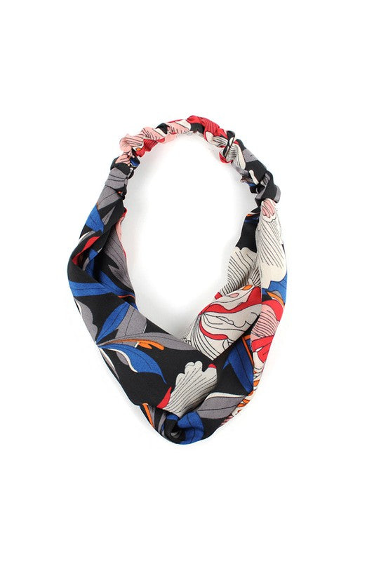 Black, Blue, Red Floral Knotted Elastic Headband