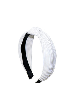White Pleated Knotted Headband
