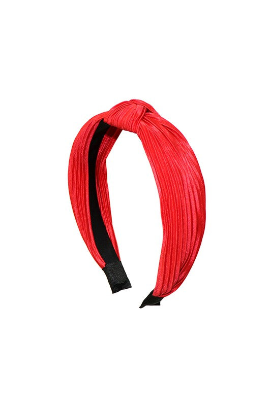 Red Pleated Knotted Headband