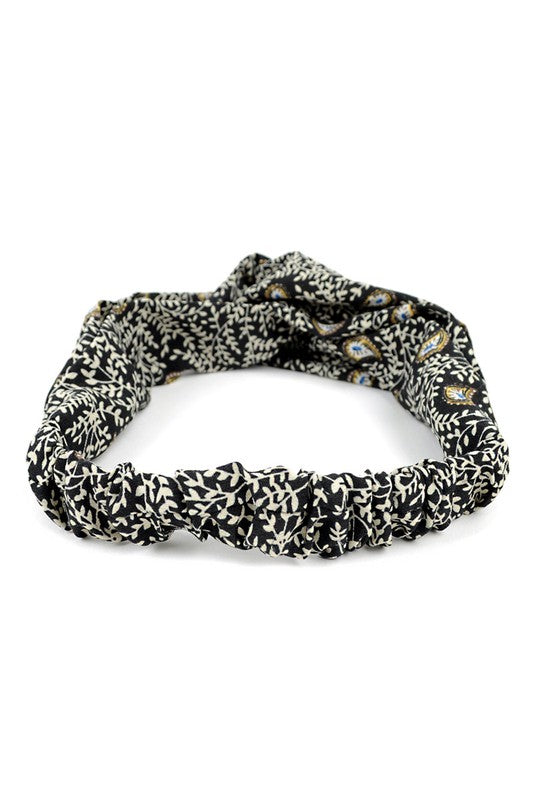 Black + Ivory Paisley Floral Knotted Elastic Headband
