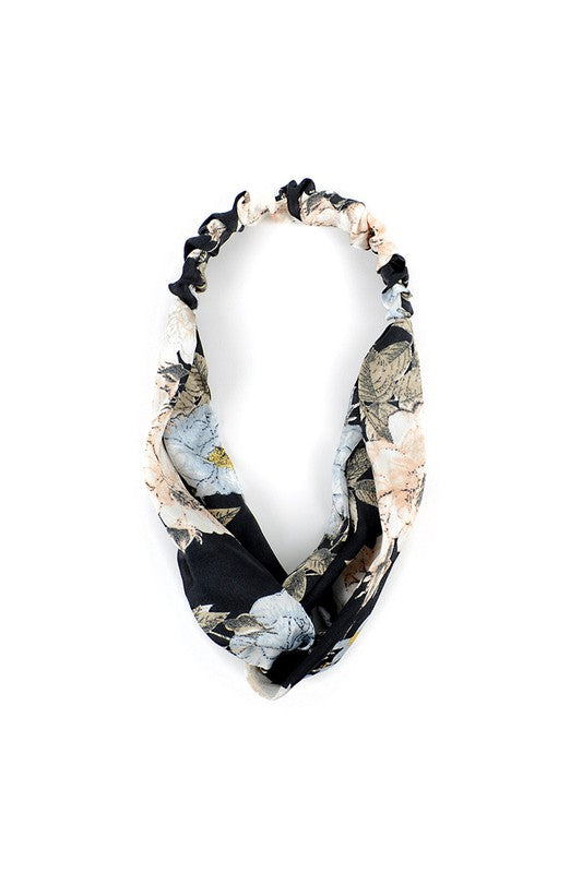 Black + Cream Floral Knotted Elastic Headband
