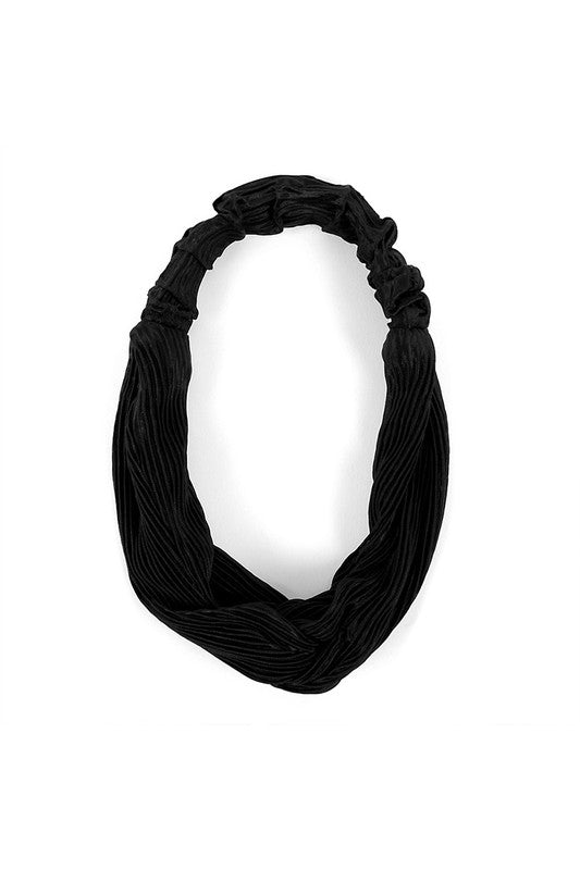 Solid Black Ribbed Knotted Elastic Headband