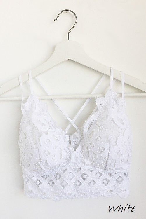 White Padded Crochet Lace Bralette