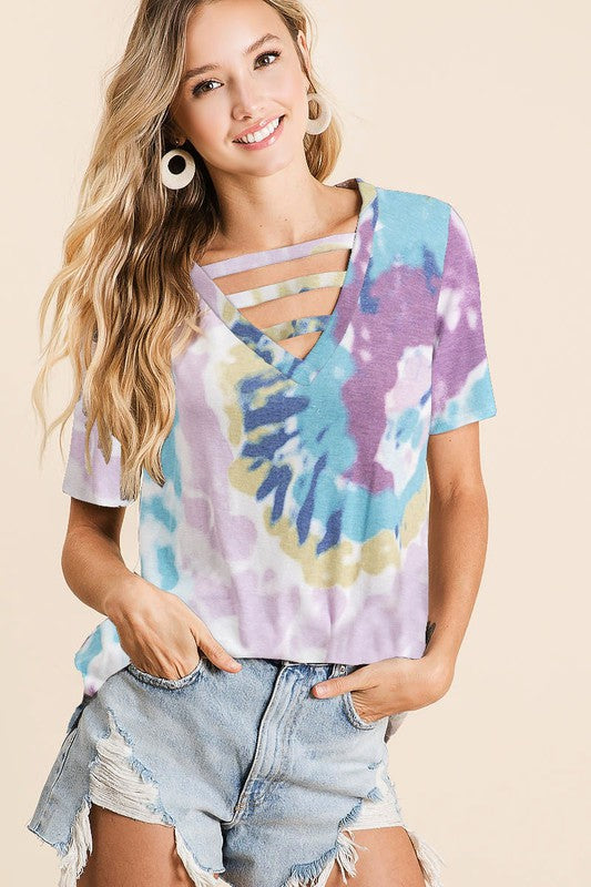 BGP Tie Dye Strappy V-Neck Top