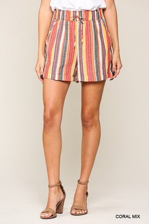 Coral Multi Stripe Shorts