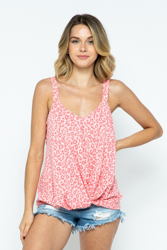 Pink Leopard Sleeveless Knotted Twist Top