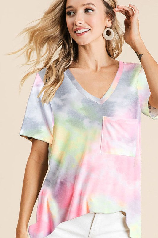 Cozy Tie Dye Short Sleeve Top