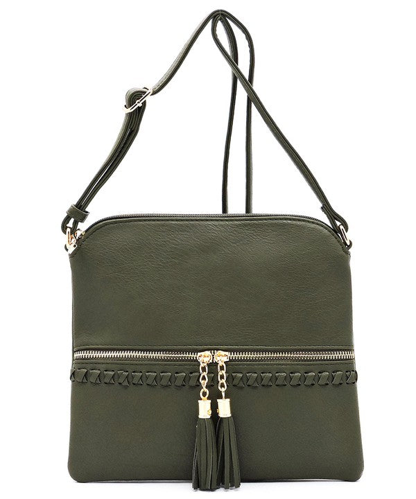 Olive Weaved Whipstitch Crossbody