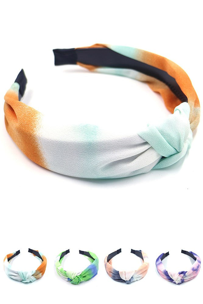 Tie Dye Ombre Knotted Headband - Multi Colors