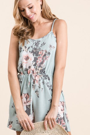 Dusty Blue Floral Print Romper