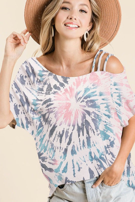 Blue/ Pink Tie Dye Strappy Shoulder Top