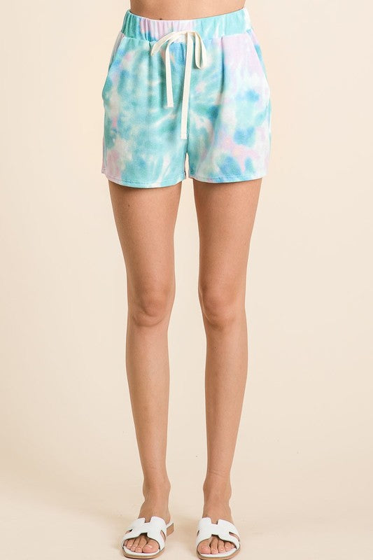 Blue Tie Dye Casual Shorts