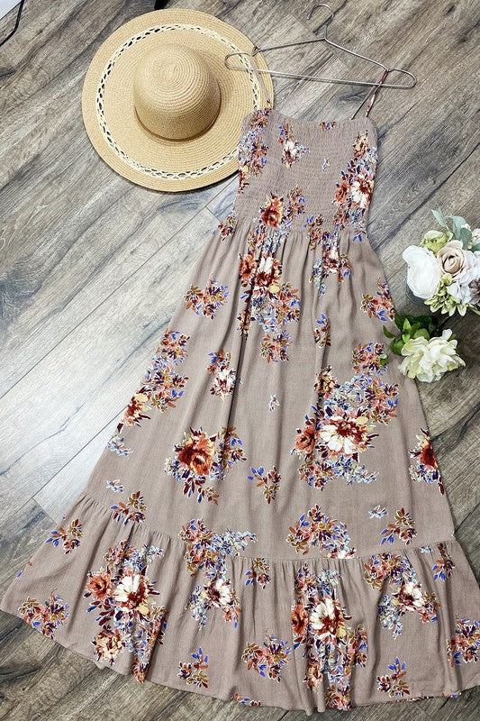 Smocked Spaghetti Strap Floral Dress- Taupe