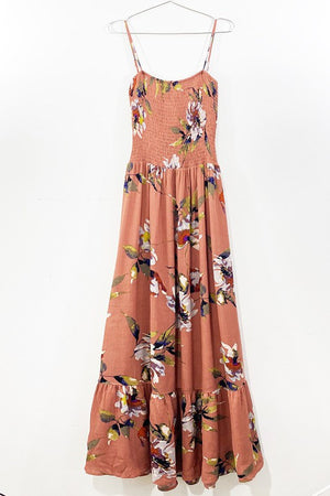 Smocked Spaghetti Strap Floral Dress- Dusty Coral