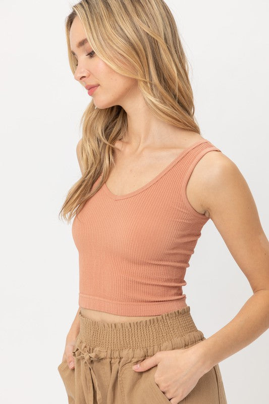 Knit Ribbed Cropped Scoop Tank-Lt. Clay