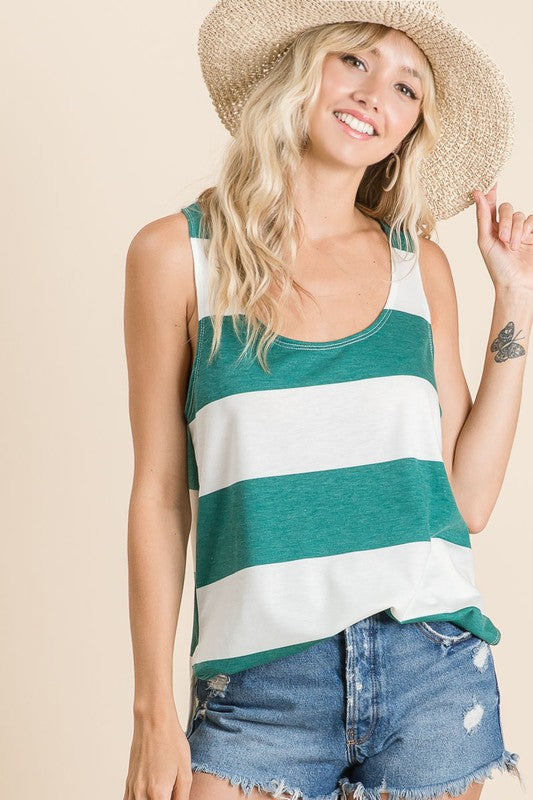Hunter Green/Ivory Stripe Tank