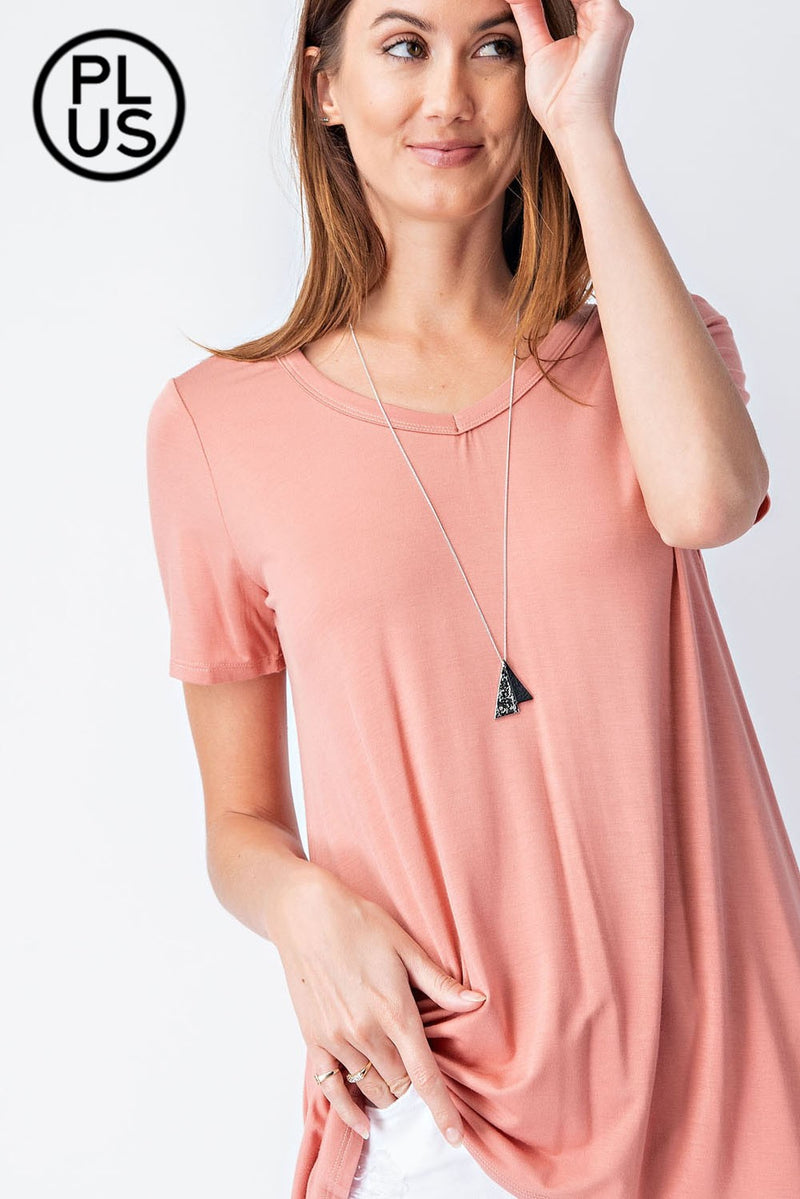 Basic V-Neck Top- Apricot