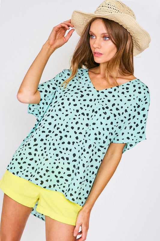 Teal Leopard Print Pocket V-Neck Top