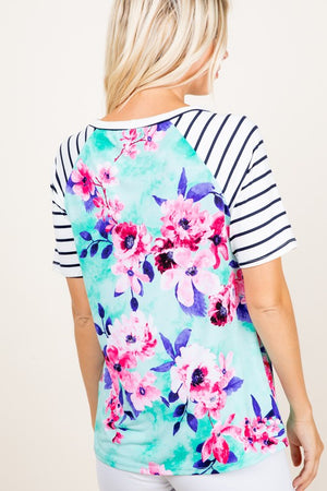Floral and Stripes Sleeved Top (S-3XL)