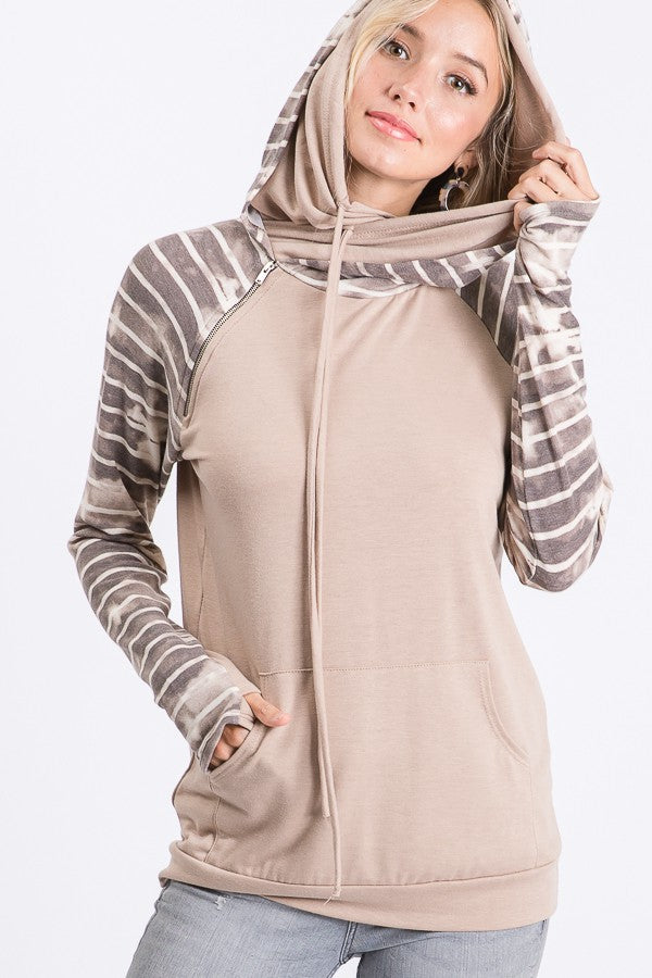 Mocha Double Layered Hooded Sweatshirt