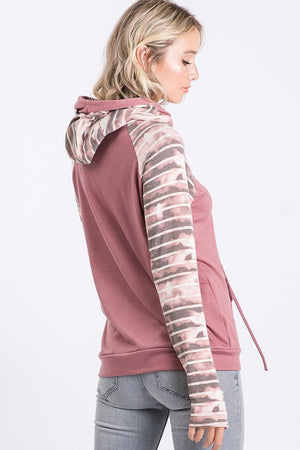 Marsala Double Layered Hooded Sweatshirt