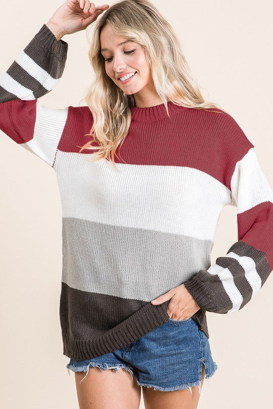 Burgundy/Charcoal Stripe Sweater