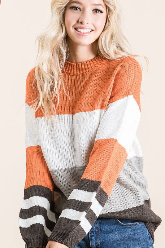 Orange/Charcoal Stripe Sweater