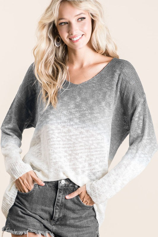 Charcoal Ombre Light Knit Sweater
