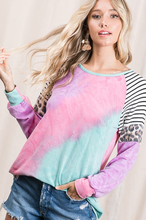 Favorite Tie Dye Animal Print Top