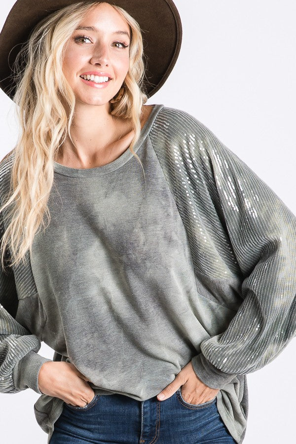 Olive Tie Dye Sequin Sleeve Top