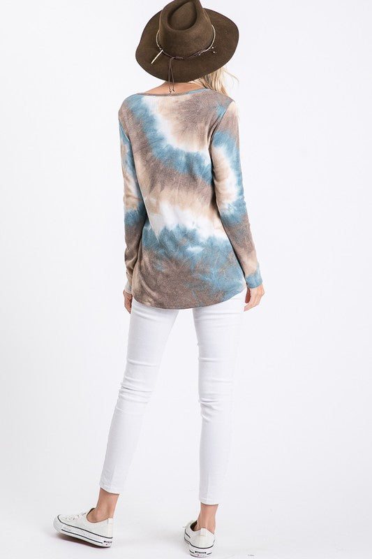Teal/Brown Tie Dye Henley Top