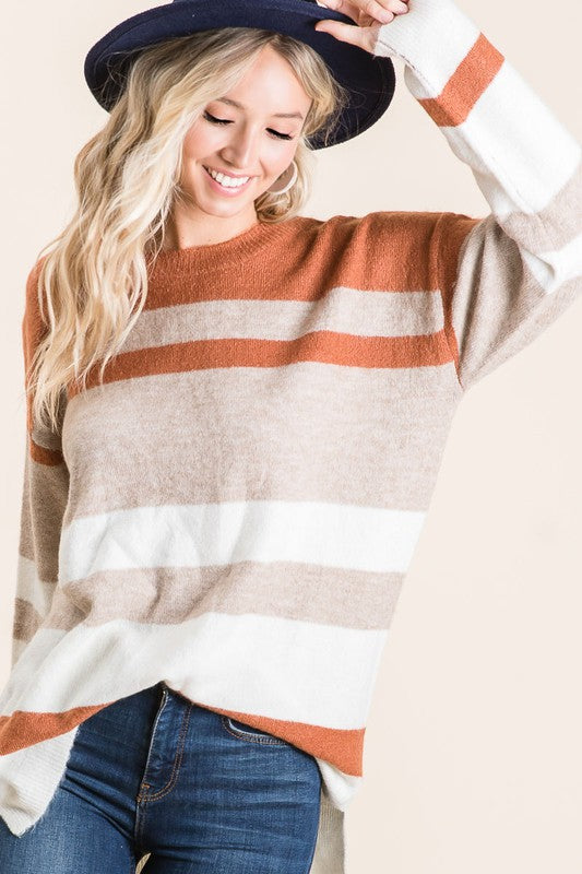 Rust & Tan Stripe Sweater