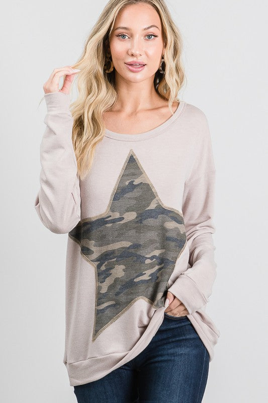 Camo Star Long Sleeve Top