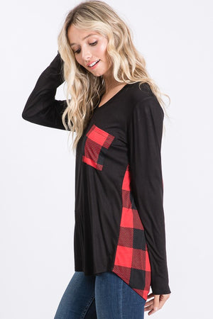 Black/Red Buffalo Plaid Pocket Top