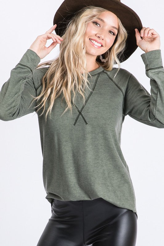 Vintage Olive Long Sleeve Top