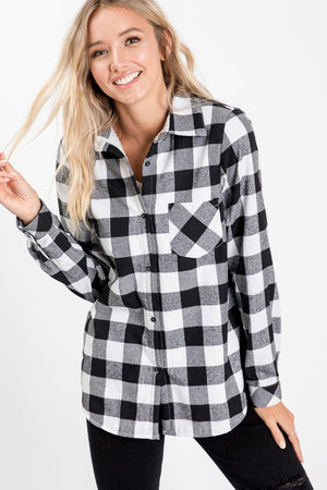 Black/White Plaid Fur Lined Button Up Top