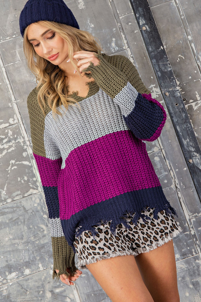 Olive Stripe Distressed Sweater